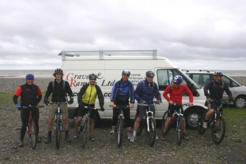 Adrian Crowe and friends about to set off from Sandy Gap on Walney Island
